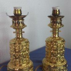 Antigüedades: 2 LÁMPARAS ANTIGUAS DE BRONCE BAÑADO EN ORO AL MERCURIO, FIRMADO GAGNEAU (PARIS). Lote 147768186