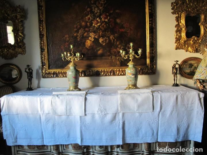 JUEGO DE SÁBANA DE HILO DE MATRIMONIO. BORDADA A REALCE. SIGLO XIX (Antigüedades - Hogar y Decoración - Sábanas Antiguas)