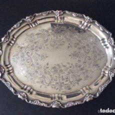 Antigüedades: BANDEJA CON BAÑO DE PLATA ,GRAN TAMAÑO-60X40 CM . Lote 147774454