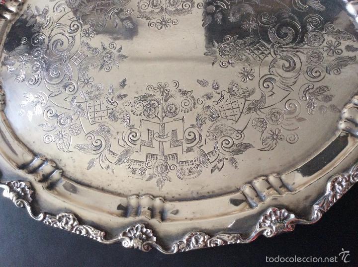 Antigüedades: BANDEJA CON BAÑO DE PLATA ,GRAN TAMAÑO-60X40 cm - Foto 3 - 147774454