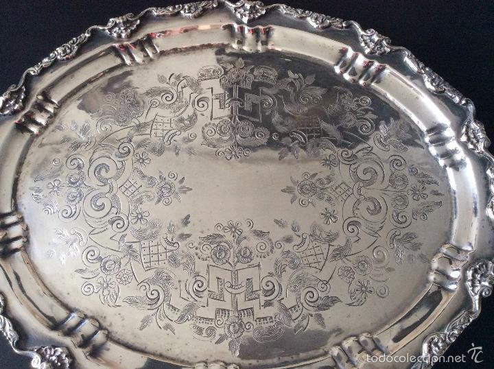 Antigüedades: BANDEJA CON BAÑO DE PLATA ,GRAN TAMAÑO-60X40 cm - Foto 5 - 147774454
