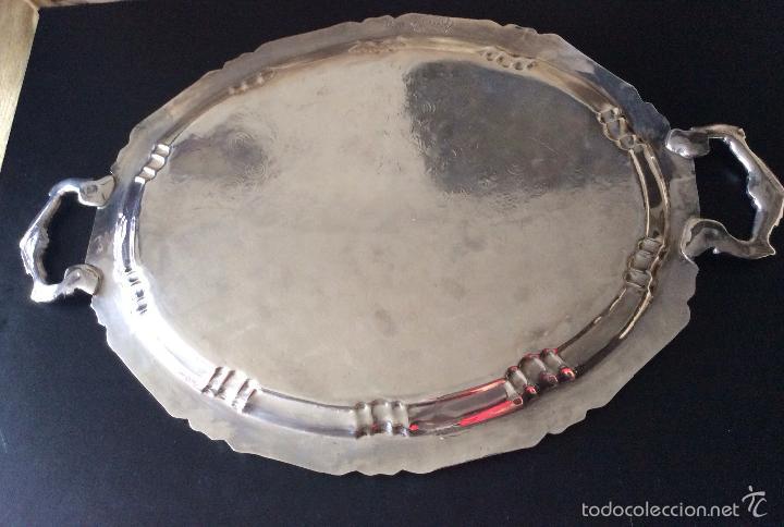 Antigüedades: BANDEJA CON BAÑO DE PLATA ,GRAN TAMAÑO-60X40 cm - Foto 7 - 147774454