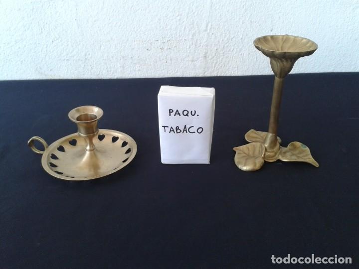 Antigüedades: 2 PALMATORIAS CANDELABROS PORTAVELAS - Foto 3 - 147780918