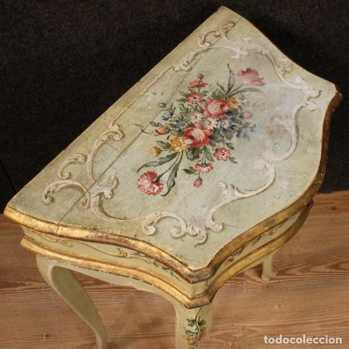Antigüedades: Pair of lacquered and painted Venetian bedside tables - Foto 9 - 147778466