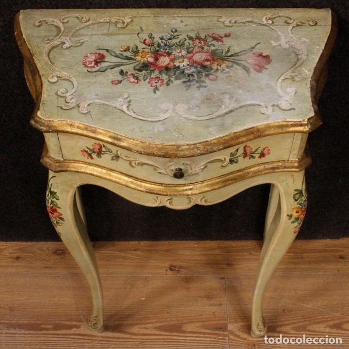 Antigüedades: Pair of lacquered and painted Venetian bedside tables - Foto 12 - 147778466