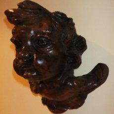 Antigüedades: ESPECTACULAR CABEZA DE ANGELOTE TALLADA EN MADERA. Lote 147830126