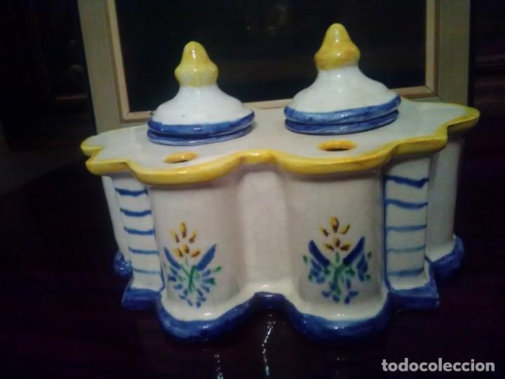 PRECIOSO TINTERO ALCORA. (Antigüedades - Porcelanas y Cerámicas - Alcora)