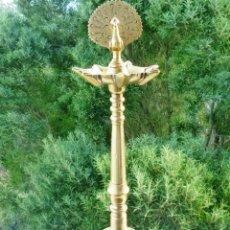 Antigüedades: CANDIL LÁMPARA DE ACEITE DE 7 CAÑOS EN BRONCE MACIZO 2.8 KILOS FIRMADA, SELLADA Y NUMERADA 45 CMS.. Lote 147854834