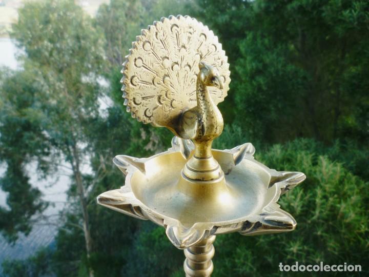 Antigüedades: CANDIL LÁMPARA DE ACEITE DE 7 CAÑOS EN BRONCE MACIZO 2.8 KILOS FIRMADA, SELLADA Y NUMERADA 45 CMS. - Foto 19 - 147854834