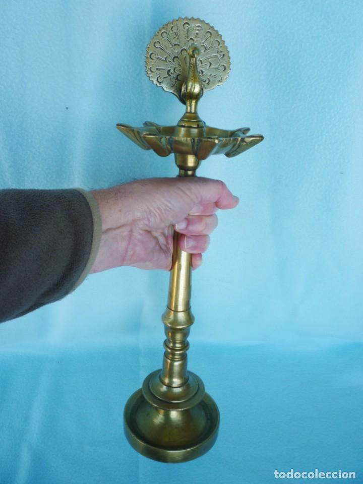 Antigüedades: CANDIL LÁMPARA DE ACEITE DE 7 CAÑOS EN BRONCE MACIZO 2.8 KILOS FIRMADA, SELLADA Y NUMERADA 45 CMS. - Foto 27 - 147854834