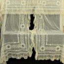 Antigüedades: T4 PAREJA DE CORTINAS 1920 ART DECO BORDADAS A MANO APLICACIONES DE FINO HILO. . Lote 147860610