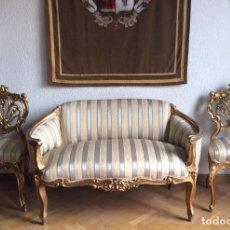 Antigüedades: LOUIS XVI,SOFÁ Y SILLAS EN MADERA DORADA DEL SIGLO XIX . Lote 147861014