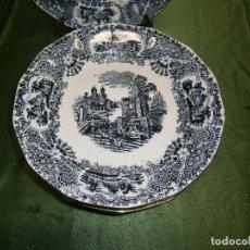 Antigüedades: LOTE DE OCHO PLATOS LLANOS CON EL FILO DORADO DE CARTUJA PICKMAN PARA REPOSICIÓN VISTAS. Lote 147887430