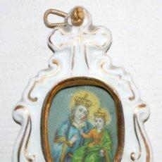 Antigüedades: BENDITERA DE PORCELANA-VIRGEN Y NIÑO-AÑOS 20.. Lote 147898526