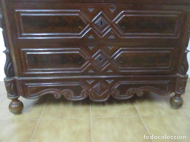 Antigüedades: Antigua Cómoda Isabelina (Ditada) - Madera de Caoba y Raíz - Mármol - S. XIX - Foto 5 - 147898878