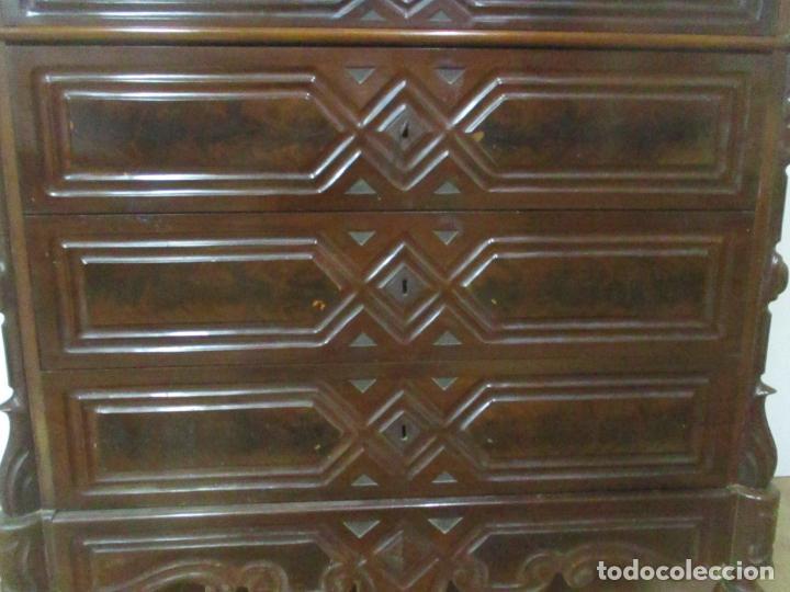 Antigüedades: Antigua Cómoda Isabelina (Ditada) - Madera de Caoba y Raíz - Mármol - S. XIX - Foto 6 - 147898878