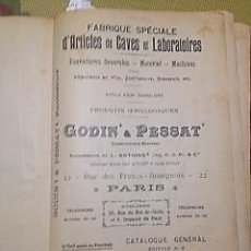 Antigüedades: CATALOGO GENERAL DE GODIN & PESSAT ARTICULOS DE CAVA, LABORATORIOS, ETC 8ª EDICION. Lote 147941966