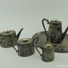 Antigüedades: IMPRESIONANTE ANTIGUO JUEGO DE CAFE Y TE DE INGLATERRA PRECISOS DETALLES HUESO BAÑO DE PLATA EPBM. Lote 147949598