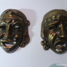 Antigüedades: 2 ANTIGUAS MÁSCARAS TEATRO GRIEGO , METAL, VER FOTOS. Lote 147953898
