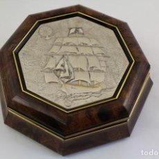 Antigüedades: CAJA JOYERO CON BARCO EN PLATA DE LEY 925MILESIMAS. Lote 161067453