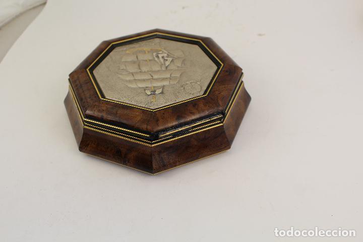 Antigüedades: caja joyero con barco en plata de ley 925milesimas - Foto 5 - 161067453