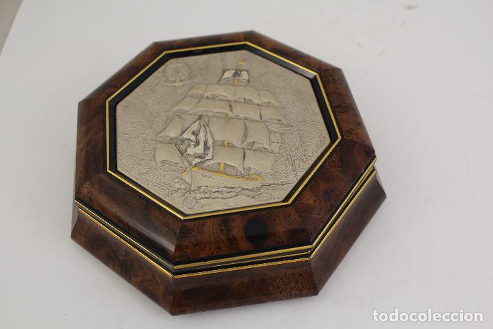 Antigüedades: caja joyero con barco en plata de ley 925milesimas - Foto 7 - 161067453