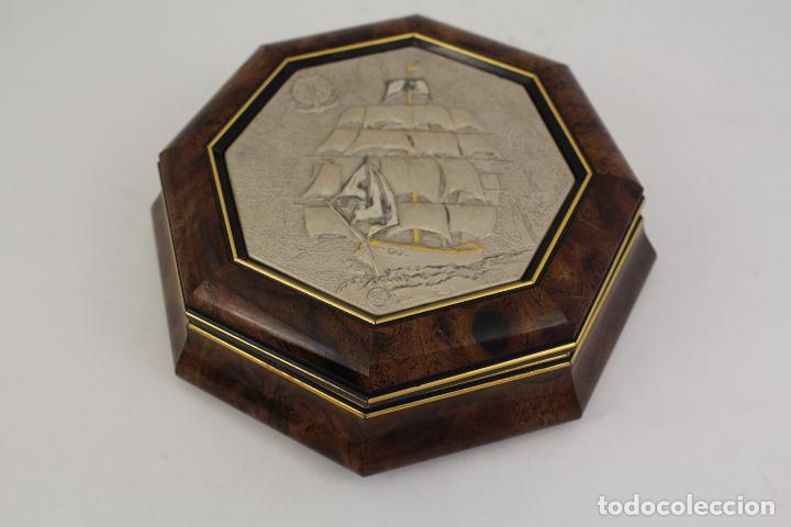 Antigüedades: caja joyero con barco en plata de ley 925milesimas - Foto 8 - 161067453