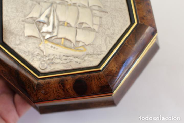 Antigüedades: caja joyero con barco en plata de ley 925milesimas - Foto 9 - 161067453