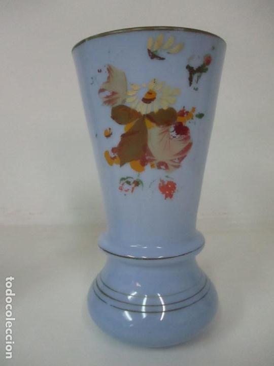 Antigüedades: Pareja de Jarrones - Jarrón - Cristal Opalina Azul - Pintada a Mano - 29,5 cm - S.XIX - Foto 5 - 147987442