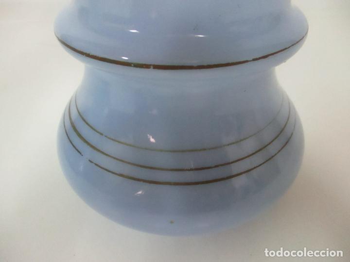 Antigüedades: Pareja de Jarrones - Jarrón - Cristal Opalina Azul - Pintada a Mano - 29,5 cm - S.XIX - Foto 6 - 147987442