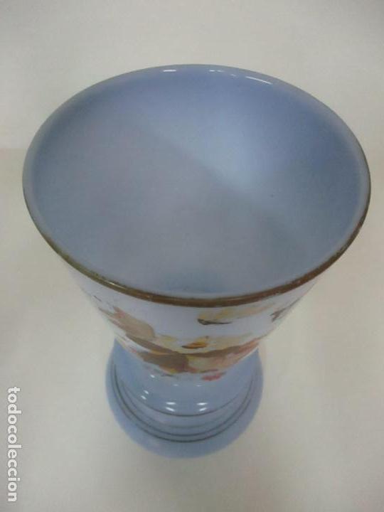 Antigüedades: Pareja de Jarrones - Jarrón - Cristal Opalina Azul - Pintada a Mano - 29,5 cm - S.XIX - Foto 9 - 147987442