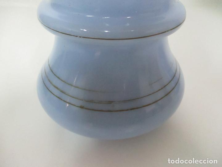 Antigüedades: Pareja de Jarrones - Jarrón - Cristal Opalina Azul - Pintada a Mano - 29,5 cm - S.XIX - Foto 12 - 147987442