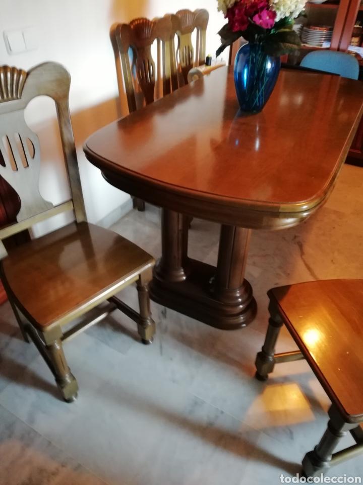 vintage mesa comedor y 6 sillas madera, copete - Kaufen Antike ...