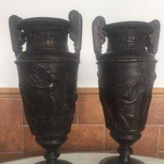 Antigüedades: ANTIGUOS JARRONES DE BRONCE MACIZO Y MÁRMOL. Lote 148012358