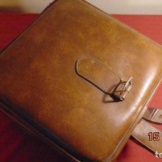 Antigüedades: ANTIGUA MALETA FRANCESA PIEL DE CALIDAD AÑOS 70 COMPRADA EN FRANCIA. Lote 148035430