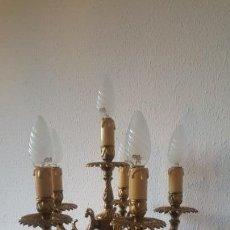 Antigüedades: LAMPARA BRONCE 6 BRAZOS. Lote 148038394