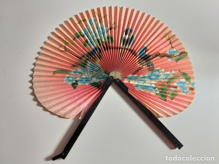 Antigüedades: ABANICO CHINO PAI PAI. PLEGABLE. PAPEL Y METAL - Foto 5 - 148038630