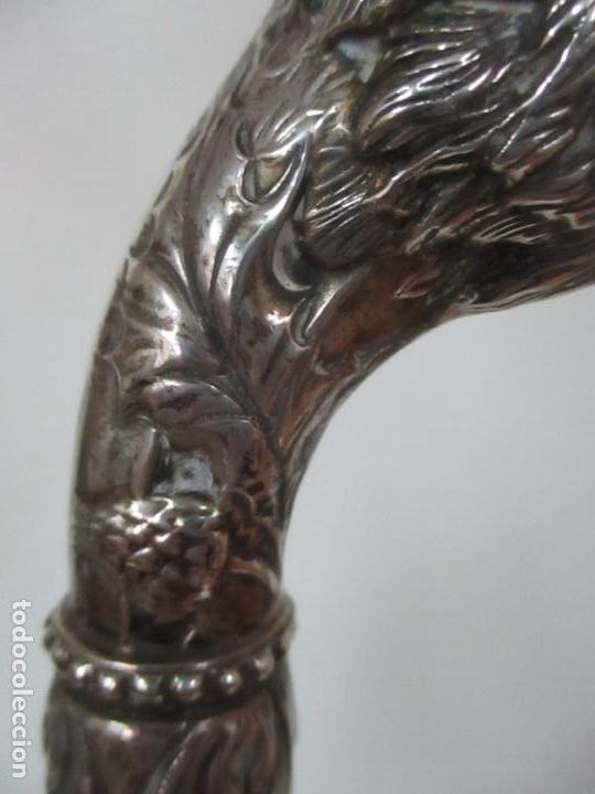 Antigüedades: Bastón en Plata de Ley, Cincelada - Cabeza de Águila - de Colección - Foto 5 - 148039034