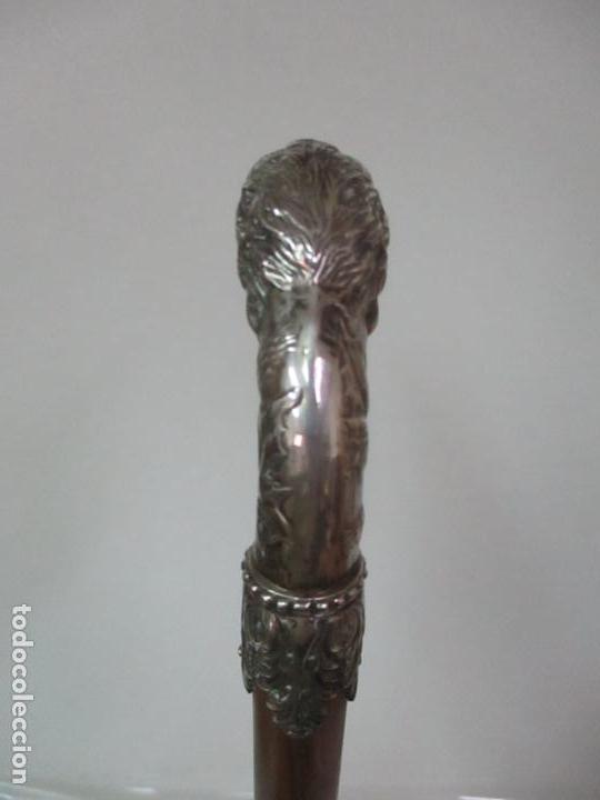 Antigüedades: Bastón en Plata de Ley, Cincelada - Cabeza de Águila - de Colección - Foto 12 - 148039034