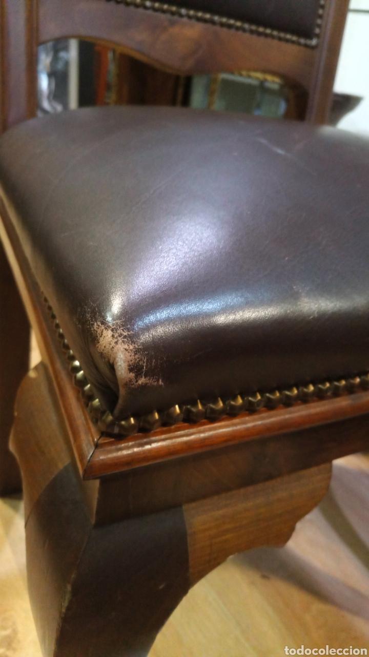 Antigüedades: Dos sillas madera nogal y cuero - Foto 3 - 139198246