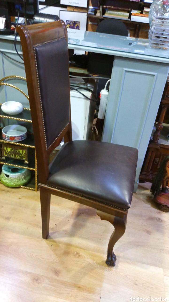 Antigüedades: Dos sillas madera nogal y cuero - Foto 5 - 139198246