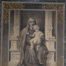Antigüedades: TAPIZ PINTADO A MANO SAN JOSÉ CON EL NIÑO FINALES SIGLO XIX. Lote 218701518