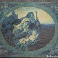 Antigüedades: TAPIZ PINTADO SAGRADA FAMILIA FINALES SIGLO XIX. Lote 148054710