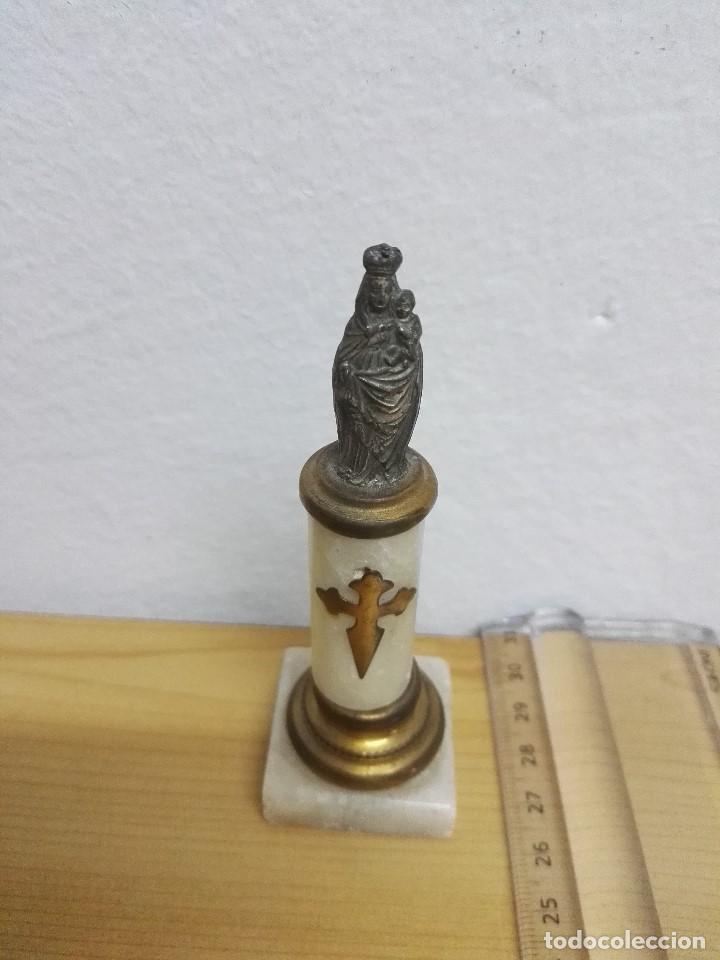 FIGURA DE VIRGEN CON PEANA Y COLUMNA DE MÁRMOL (Antigüedades - Religiosas - Varios)
