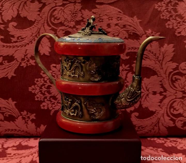 Antigüedades: TETERA DE PLATA REPUJADA, AGATA NATURAL Y CLOISONNE - 243 GRAMOS. - Foto 4 - 148070038