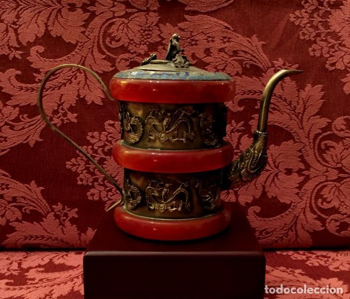 Antigüedades: TETERA DE PLATA REPUJADA, AGATA NATURAL Y CLOISONNE - 243 GRAMOS. - Foto 5 - 148070038