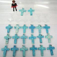 Antigüedades - lote 18 Cruces de piedra pulida azul turquesa - Cruz colgante - 148073282
