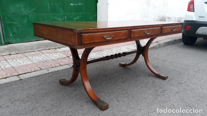Antigüedades: Mesa de despacho antigua estilo regencia. Escritorio antiguo estilo inglés. Mueble estilo barco - Foto 6 - 148087686