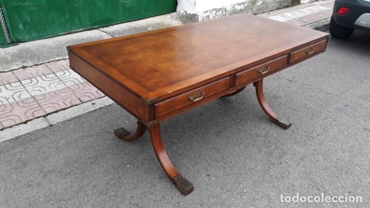 Antigüedades: Mesa de despacho antigua estilo regencia. Escritorio antiguo estilo inglés. Mueble estilo barco - Foto 7 - 148087686