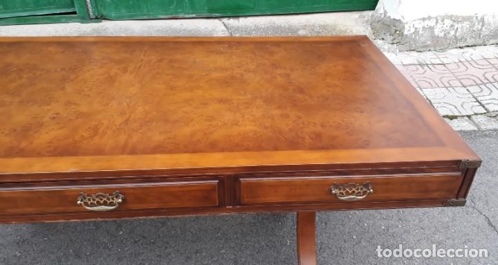 Antigüedades: Mesa de despacho antigua estilo regencia. Escritorio antiguo estilo inglés. Mueble estilo barco - Foto 11 - 148087686